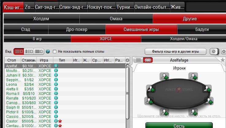 Правила покера ХОРСЕ